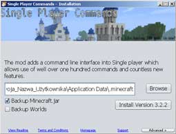 Minecraft komendy single player - Minecraft Single Player Commands v3.2.2. dla Minecraft 1.2.5